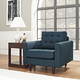 Empress Mid-Century Modern Upholstered Fabric Armchair in Azure