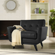 Engage Mid-Century Modern Bonded Leather Armchair in Black