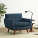 Engage Mid-Century Modern Upholstered Fabric Armchair in Azure