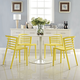 Curvy Dining Chairs Set of 4 in Yellow
