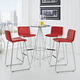 Dive Bar Stool Set of 4 in Red
