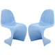 Slither Dining Side Chair Set of 2 in Blue