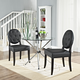 Button Dining Side Chair Set of 2 in Black