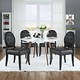 Button Dining Side Chair Set of 4 in Black