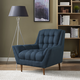 Response Mid-Century Modern Upholstered Fabric Armchair in Azure