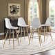 Pyramid Dining Side Bar Stool Set of 4 in White
