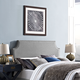 Laura King Fabric Upholstered Headboard in Light Gray