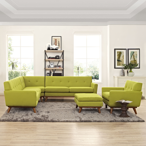 About: Engage Mid Century Modern 5 Piece Sectional Sofa In Wheatgra.