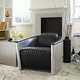 Visibility Upholstered Vinyl Lounge Chair in Black