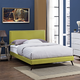 Phoebe Queen Fabric Platform Bed with Round Splayed Legs in Wheatgrass