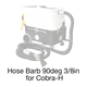 Cobra-H, 108A Hose Barb Elbow 90° 3/8in