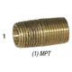 Nipple 28-132 Brass 1/4in MPT x Close