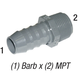 Adapter 1436-074 3/4in Barb x 1/2in MPT