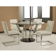 Pastel Furniture 5pc Hudson Valley Round Dining Room Set with Side Chair in Chrome