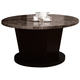 Acme Danville Round Marble Top Dining Table in Black Marble & Walnut