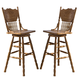 Liberty Furniture Nostalgia 30 Inch Press Back Barstool in Medium Oak Finish 10-B51730 (Set of 2)