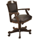 Coaster Turk Arm Game Chair w/Casters in Brown Cherry 100872