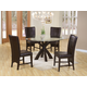 Coaster 5pc Glass Top Dining Set with Parson Chairs in Cappuccino 101071S