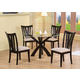 Coaster 5pc Glass Top Dining Set with Side Chairs in Cappuccino 101071-72S