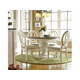 Universal Furniture Summer Hill 5PC Round Single Pedestal Dining Set w/ Pierced Back Chairs in Cotton