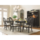 Universal Furniture Summer Hill 7PC Rectangular Leg Dining Set w/ Pierced Back Chairs in Midnight