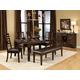 Standard Furniture Bella Leg Table Dining Set W/ Bench in Walnut 16841