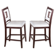 Acme Jasha Counter Height Chairs in White-Brown with Cut-out Design 17082 (Set of 2)