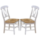 Coaster Side Chair in White and Natural Finish (Set of 2) 4117