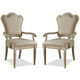 A.R.T. Provenance Upholstered Back Arm Chair in Linen (Set of 2)