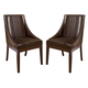 Holloway Dining Upholstered Arm Chair in Mahogany Stain (set of 2)