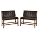 Lacey Double Upholstered Bar Stool in Brown (Set of 2)