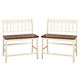 Whitesburg Double Barstool in Brown - White (Set of 2)