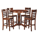Homelegance Wayland 5-Piece Counter Height Table Set in Antique Oak 2457-36