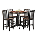 Homelegance Andover 5-Piece Counter Height Table Set in Antique Oak and Black 2458-36