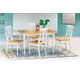 Coaster 5pc Dining Set with Lyre Back Chairs in White and Natural Finish 4147-4222