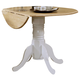 Coaster Round Drop Leaf Dining Table in White and Natural Finish 4241