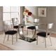 Acme Camille 5 pc Glass Top Metal Base Rectangular Dining Table Set