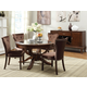 Acme Kingston 5-pc Glass Top Round Pedestal Dining Table Set in Brown Cherry