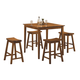 Homelegance Saddleback 5-Piece Counter Height Table Set in Oak 5302A