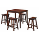 Homelegance Saddleback 5-Piece Counter Height Table Set in Cherry 5302C