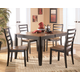 Alonzo 5-Piece Rectangular Butterfly Extension Dining Table Set in Brown