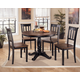 Owingsville 5pc Round Dining Table Set in Black - Brown