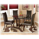 Charrell 5-Piece Round Glass Top Table Set in Brown