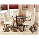 Charrell 5-Piece Round Glass Top Table Set in Ivory