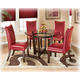 Charrell 5-Piece Round Glass Top Table Set in Red