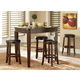Homelegance Ameillia 5pc Triangular Counter Height Table Set in Dark Oak
