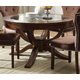 Acme Kingston Glass Top Round Pedestal Dining Table in Brown Cherry 60022