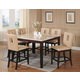 Acme Britney 7-pc Square Marble Top Counter Height Table Set with Cut-out Back Counter Height Chairs