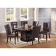 Acme Danville 7-pc Round Marble Top Dining Table Set in Black