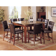 Acme Bologna 7-pc Marble Top Square Counter Height Dining Table Set in Brown